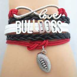 teams beads Promo Codes - Jewelry Infinity Love Bulldogs Football College Team Bracelet Wristband Friendship Gifts B09207