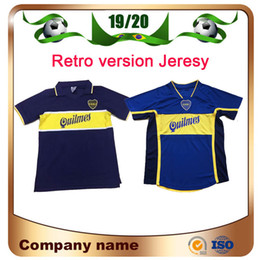 Boca juniors uniformes de futbol online-97/98 Versión retro Boca Junior Soccer Jersey 2001/2002 # 10 ROMAN # 9 PALERMO Camiseta de fútbol Maradona Vintage Caniggia Uniforme de fútbol