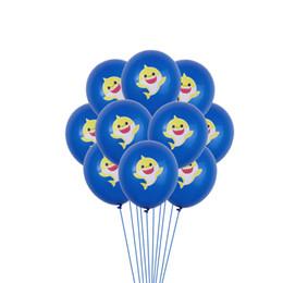 décorations de mariage violet foncé Promotion Bébé Requin De Bande Dessinée Ballons Latex Gonflable Ballon Enfants Enfants Fête D'anniversaire De Mariage Props Fourniture Décoration Cadeau Jouets En Gros C71104