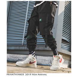 Cinto de macacão on-line-Homens Hip Hop Cinto Calças de Carga 2019 Homem Macacões Patchwork Japoneses Streetwear Corredores Calças Dos Homens Designer Harem