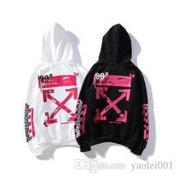 Толстовки с капюшоном онлайн-Горячие мужские свободного покроя толстовки розовый граффити Стрела печать ОУ прилив бренд мужчин и женщин того же пункта свитер