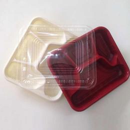 embalagens de plástico descartáveis Desconto 500 pcs Plástico Descartável Caixa de Almoço PP Embalagem de Fast Food 22 * 19 * 3 cm 4 Compartimento para viagem Caixa com tampas wen5625 20180920 #