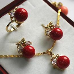 2019 schicke sterling silber ringe Prett Damen Hochzeit Modeschmuck Set 10mm rote Muschel Perle, Ring, Anhänger Ohrstecker günstig schicke sterling silber ringe