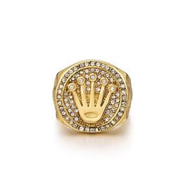 2019 anéis dourados do menino Moda Hip-hop Coroa de Diamante Anel De Aço De Titânio 8-12 Tamanho Anel Design Original Esporte Acessórios Night Club Ornamentos Amante Maré anéis