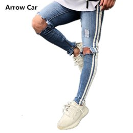 48850843ee8 Arrow Car Men Jeans Stretch Destroyed Ripped Design Fashion Ankle Zipper D Pencil  Pants Skinny Jeans For Men