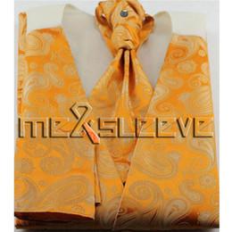 2019 giarrettiera fiocco di gemelli di ascot set classico arancione per spedizione gratuita (gilet + cravatta ascot + gemelli + fazzoletto) giarrettiera fiocco di gemelli di ascot economici