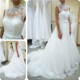 designers de vestidos de casamento china Desconto Modest Lace vestido de baile vestidos de casamento Designer 2019 alta Neck Sheer Custom Made vestidos de noiva da China