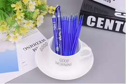 stationery rubber set Coupons - 12pcs lots 0.5mm blue refill and Erasable pen Rubber rod Stationary set for student School Office Stationery Supplies Wholesale