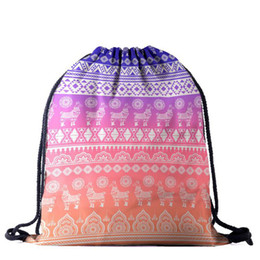 drawstring backpack children Promo Codes - Wholesale Alpaca Drawstring Bag Women Polyester Gym Sack Backpack Outdoor Shopping Rucksack Children School Bag Free Shipping