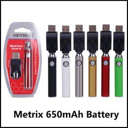 Batteria ricaricabile Metrix Vape 650mAh Kit caricabatterie penna ricaricabile Vape Preriscaldamento a tensione variabile VV vaporizzatore per cartucce di olio spesso da