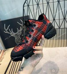 2019 chaussures de ruban de dames Femmes Floral Lattice Chaussures de sport Néoprène Ruban Grosgrain D-Connect Baskets à lacets Designer Lady Sneakers à semelle en caoutchouc chaussures de ruban de dames pas cher