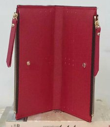 Portefeuille long rouge en Ligne-Gros bas rouge dame long portefeuille multicolore designer porte-monnaie titulaire de la carte femmes classique double fermetures à glissière poche Vérifiez les sacs coupés