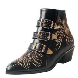 botas de tornozelo de fivela studded Desconto 2020 Luxo Susanna Studded Buckle Botas para mulheres Martin botas de inverno de couro Genuine Suede grife botas robustas botas de salto de combate