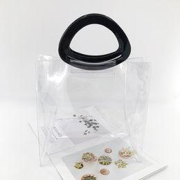 Модные прозрачные сумки для пляжа онлайн-mixtx 2019 Hot Sale Fashion Transparent PVC Tote Women Personality Handbag Female New Beach Bag Crystal Jelly Clear Shopping Bag