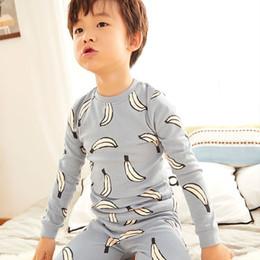 Bambino Pigiama Ragazzi Blu-grigio Banana Stampa Pigiameria Bambini Pigiama Ragazze Pigiama Set Per Bambini Homewear Abbigliamento Casual Pigiami J190717 da