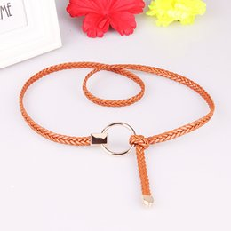 0823e317a05c New Weaving Waist Round Buckle Belts Casual Luxury Knitted Braided Belt For Women  Ladies Thin Waistband