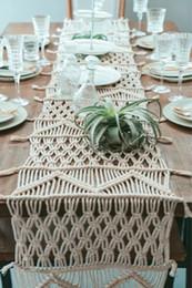 decoraciones del partido azul real negro Rebajas Cubierta de mesa tejida a mano Toalla Cuerda de algodón Escritorio Vintage Manta de mesa Runner Home Decoración de la habitación del hotel