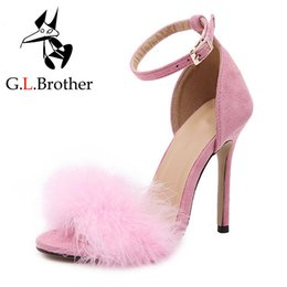 scarpe da spogliarello Sconti G.L.Brother Fur Sandals Heels Women High Heel Sandals Sexy Stripper Shoes Donna Tacchi sottili Sandale Fourrure Femme