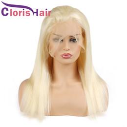 capelli umani parrucca bionda di platino Sconti Parrucche piene lungamente diritte bionde anteriori del pizzo dei capelli umani di colore 613 Parrucca piega brasiliana completa del pizzo per le donne nere parrucca intrecciata bionda di platino