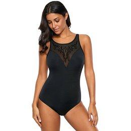 Einzigartige badeanzüge online-Neue Mode Einfarbig Sexy Schwarz Einzigartige Maschenstickerei Rundhals Sleeveless Dünne Große Einteiliger Badeanzug jooyoo