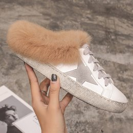 PINSEN 2019 Inverno Donna Scarpe Casual in pelle di coniglio Pelle Do Old  Dirty Shoes Donna Sneakers Warm Flat Golden Star Boat 665452663bf