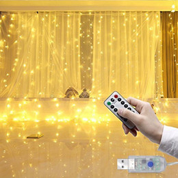 Cortina de luz de corda ao ar livre on-line-9.84x9.84ft / 3Mx3M 300-LED Branco / Branco Quente / Multicolor / Luz Azul Romântico Do Casamento Do Natal Ao Ar Livre Decoração Da Cortina Corda luz