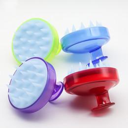 Cepillos de champú online-Cepillo de champú transparente Peine de lavado de cabello Cepillo de champú de silicona Cepillo de dientes anchos Cepillo de lavado Cepillos de champú de silicona