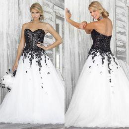 vestido preto decote de renda Desconto Preto e branco vestido de baile vestidos de casamento 2020 decote Lace Applique lantejoulas Moda vestidos de noiva Custom Made Tamanho