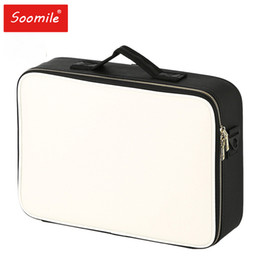 Женский большой ящик онлайн-Fashion Female PU Leather  Organizer Big Professional Travel Make Up Storage Box 2019 New Travel Cosmetic Suitcase