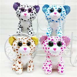 video game beanie Coupons - 20CM Ty Beanie Boos Big Eyes Plush Toy Doll 4 Models Spots Cat TY Baby For Kids Brithday Gifts