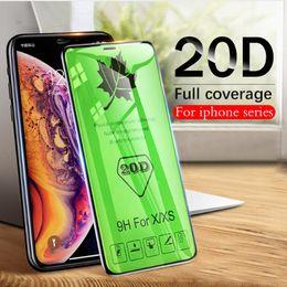 protectores de pantalla mate iphone 5s Rebajas 20D de borde curvado Vidrio protector de vidrio templado para el iPhone 11 pro max 6 7 8 6S Plus X MAX XR SAMSUNG P30 HUAWEI A9 J4 protector de la pantalla de cine