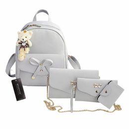 mochila de bowknot Rebajas 4 Unids / set Nuevo Lindo Bowknot Mujeres Mochilas Tamaño Pequeño Moda Adolescentes PU Mochilas de Cuero con Monederos Mochila Feminina # 112220