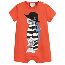 Barboteuse orange pour bébé en Ligne-GG nouveau-né garçons garçons Rompe enfants vêtements d'été combinaison manches courtes barboteuse coton bébé garçon vêtements tenues ensemble 0-18 M