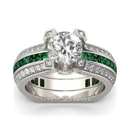 Argentina Moda 925 plata esterlina Princesa-corte verde Topaz Diamond CZ Anillos de piedras preciosas conjunto Compromiso Boda Novia Banda Anillos Dedo para mujeres Suministro