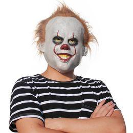 O filme máscara de látex de escudo de Stephen King ele Pennywise Máscara Máscara de Halloween Assustador Cosplay Ele Clown Partido Látex Prop Máscaras de