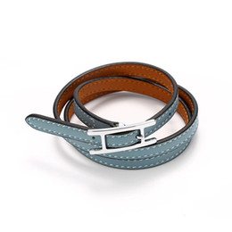 black belt silver plate Promo Codes - wholesale fashion bracelet h belt buckle three layer leather bracelet h leather men and women friendship bracelet No allergy