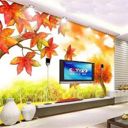 пейзаж Скидка Нестандартный размер 3d фото обои росписи гостиной мультфильм картина маслом осенние пейзажи 3d картина диван тв фоне обои нетканые наклейки