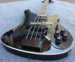 Embutido guitarra fretboard on-line-O costume RIC 4 cordas enegrece o hardware preto do preto da guitarra 4003, embutimento do MOP do triângulo do Fretboard do jacarandá