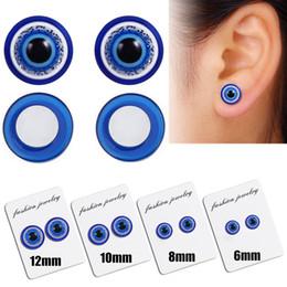 orecchini di diamanti rubino Sconti 1 Paia Unisex Perdita di Peso Occhi Blu Forma Ear Stud Sano Magnetico Terapia Orecchini 10mm 6mm 8mm 12mm No Piercing