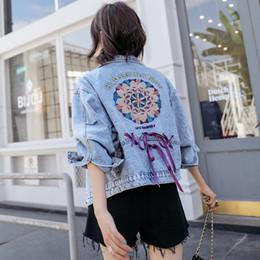 Джинсовая куртка онлайн-Реальный выстрел женская свободная повседневная вышивка тонкий джинсовая куртка 2019 новая корейская мода шнурок короткая джинсовая куртка