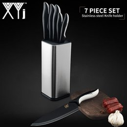 portautensili di utilità Sconti XYj 7 pezzi Coltelli da cucina in acciaio inox Set Chef pane per affettare Santoku Utility Coltello per affettare 8 '' Coltello da cucina in acciaio inox
