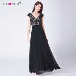307a8d704 Ever Pretty Robe De Soiree 2019 Vestidos de noche de encaje largos Elegante  Línea de manga corta con cuello en v Vestidos de fiesta negros