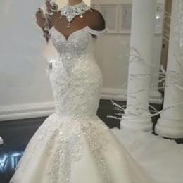2019 falda media sirena Vestidos de novia de cristal de lujo de encaje de talla grande 2019 Vestidos de novia de sirena árabe de Dubai Vestidos de novia de diamantes de imitación con cuentas de cuello alto personalizado