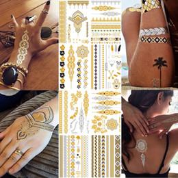 2019 черная флеш-бумага Флэш-металлик водонепроницаемый тату золото золото серебро женская мода хна / павлин дизайн перо временные татуировки палкой пастер