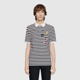 Polo rayure blanche en Ligne-Luxe Europe Bee Lightning Broderie Noir Et Blanc Rayures Polo Tshirt Shorts Mens Designer T-shirts Femmes Couple Marée Rouge Tee HFSSTX257