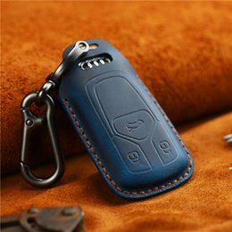 fgtech galletto tricore Rebajas Cuero Audi Car Key Case A4A5A6 Key Case Handmade Crazy Horse Leather Vintage en relieve Botón Dumb Gun Moda Key Bag accesorios