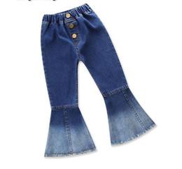 2019 nouveaux vêtements pour enfants mode fille sauvage jeans rétro flare pantalon couture couleur ? partir de fabricateur