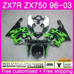 zx7r 1997 verde Desconto ZX-7R Para KAWASAKI NINJA ZX750 ZX 750 7R 96 97 98 99 00 01 02 03 Chamas verdes 46HM.6 ZX7R 1996 1997 1998 1999 2000 2001 2002 2003 Carenagem