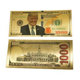 Canada Dollars plaqués antiques Donald Trump pièce Antique plaqué or 24K billets colorés dollar billet d'or feuille de banque commémorative argent Offre