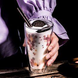 350 ml di fiori di ciliegio chiaro a mano resistente al calore a doppia parete tazza di tè Kungfu vetro sano bere acqua tazza di caffè da